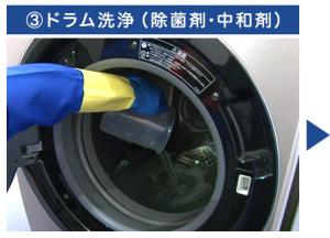 ③ドラム洗浄(除菌剤・中和剤)